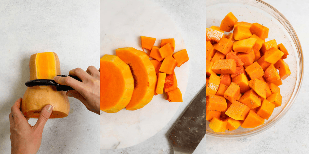 Showing how to cube butternut squash