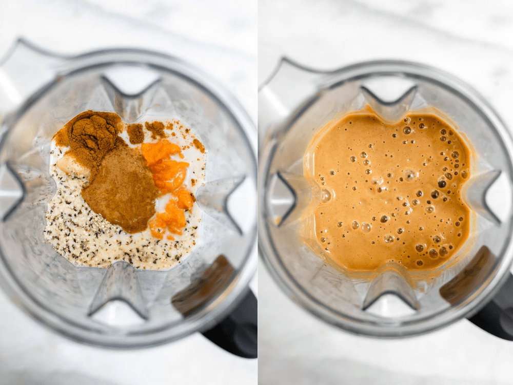Before and after blending the recipe.