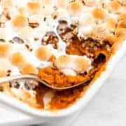 Sweet potato casserole for a vegan thanksgiving side dish recipe.