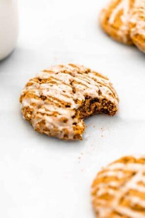 Soft Baked Iced Vegan Pumpkin Cookies