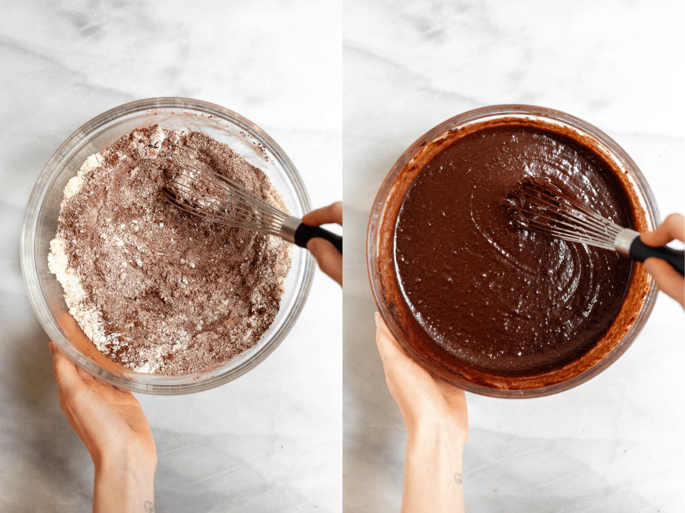Whisking the batter in a glass bowl.
