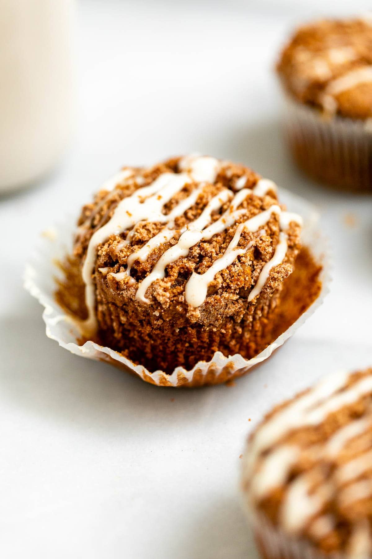 Gingerbread muffin with cinnamon streusel and maple glaze.