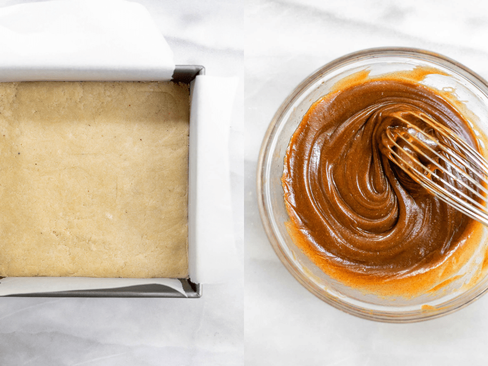 Whisking together the caramel.