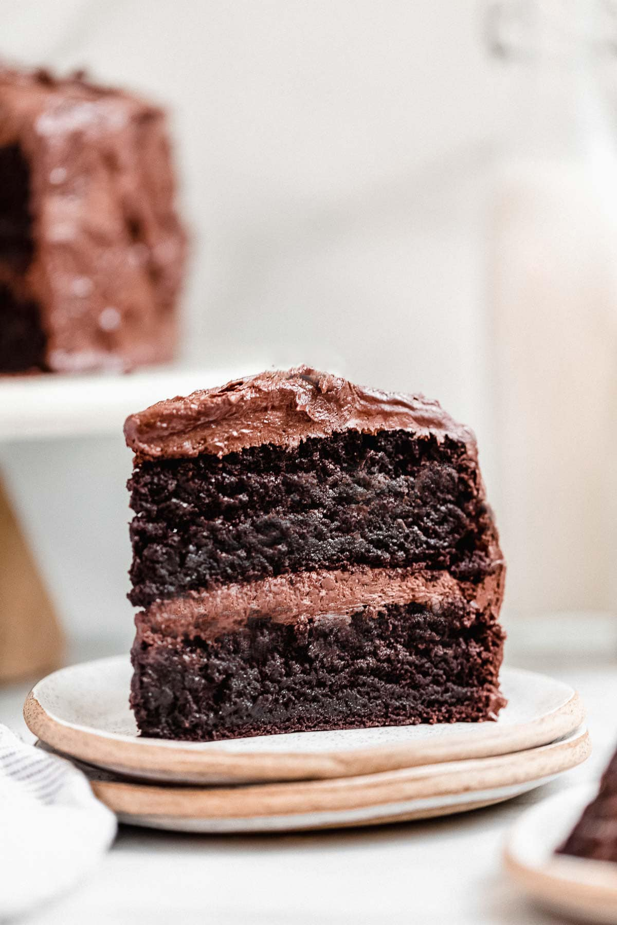 Two layer chocolate cake on a plate.