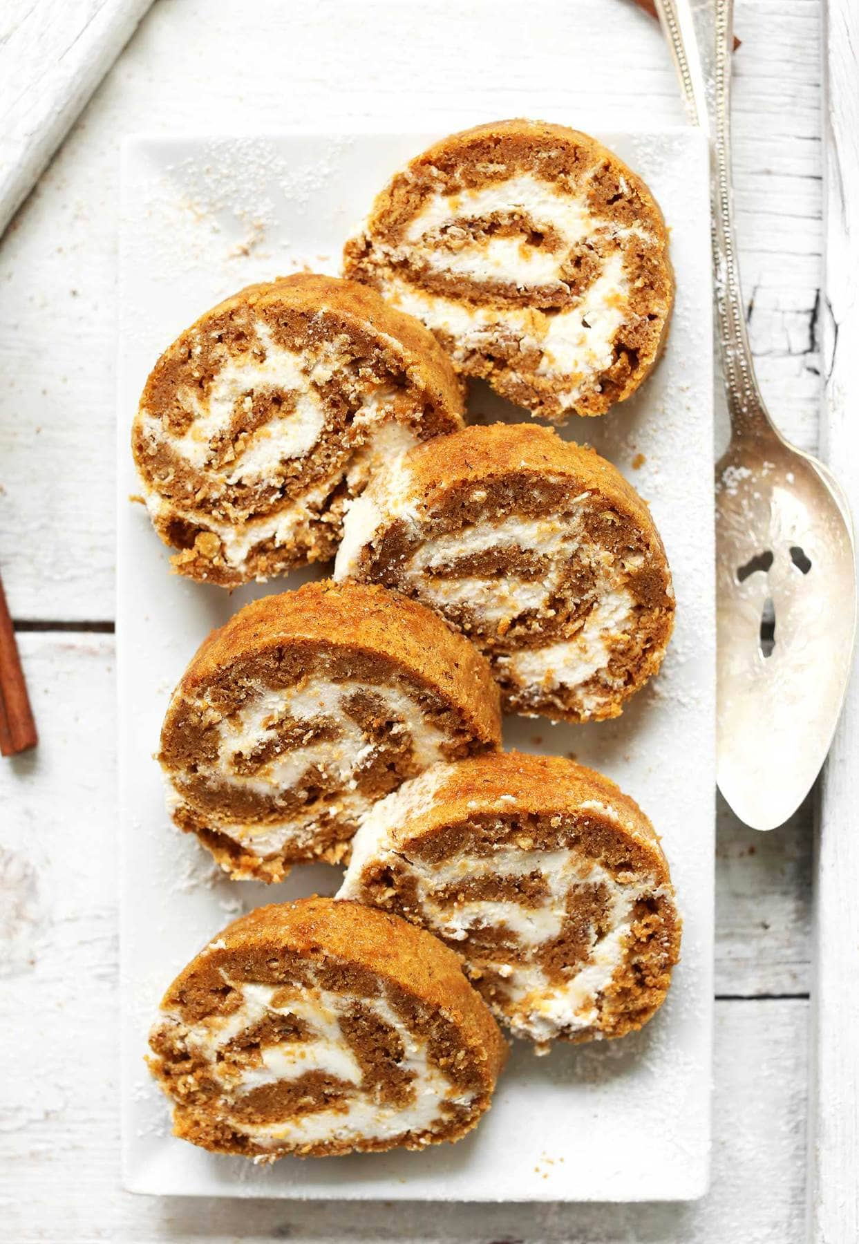 vegan dessert recipes such as pumpkin roll for thanksgiving.