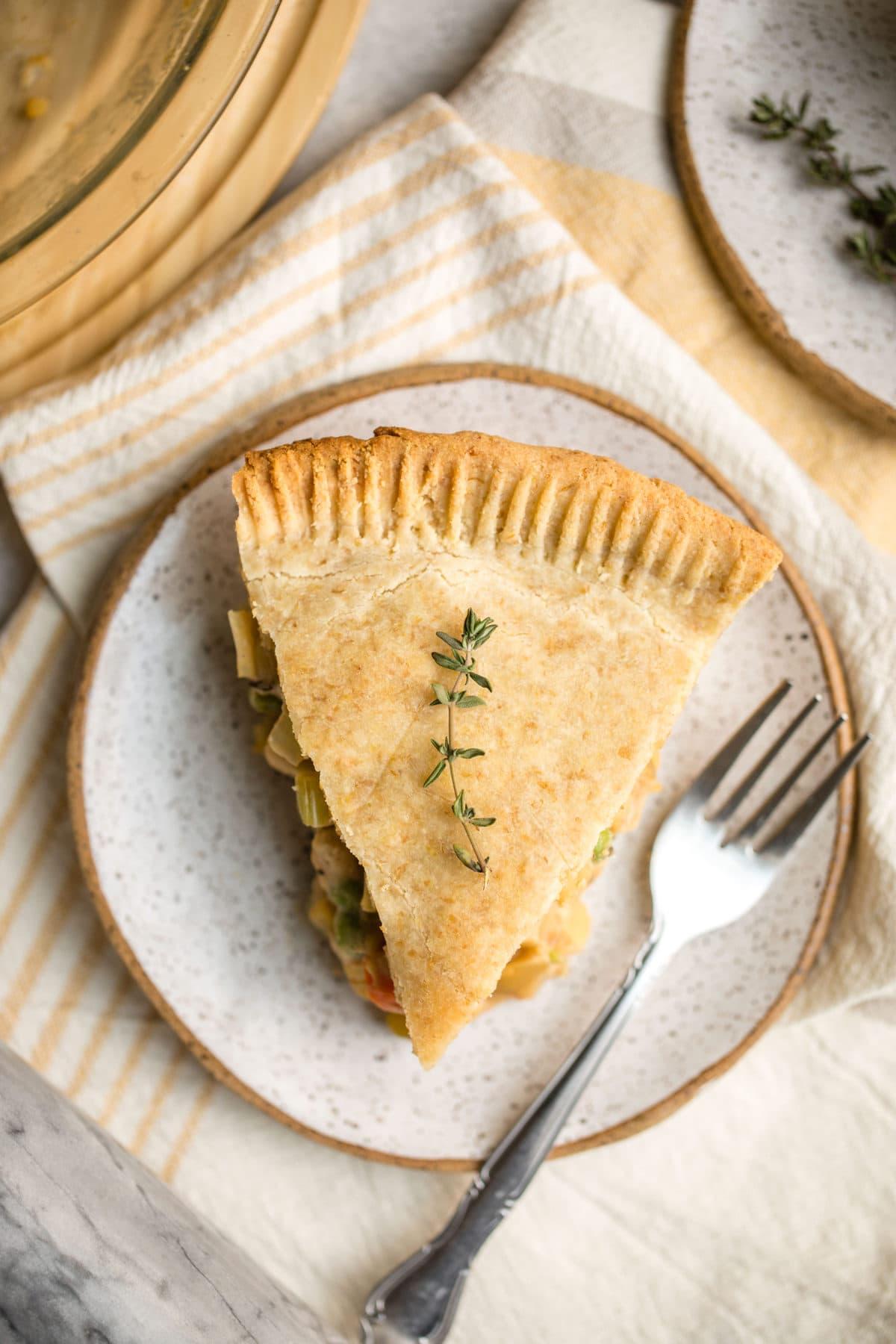 One slice of chickpea pot pie.