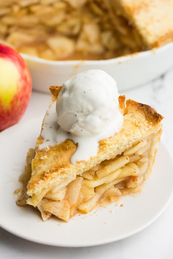 vegan apple pie with ice cream on top.