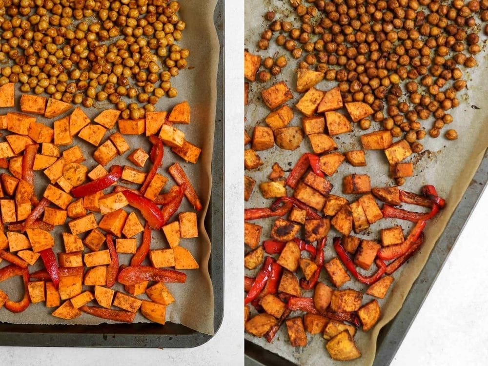 Showing how to roast the sweet potatoes and veggies.