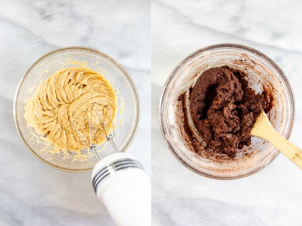 Two images showing how to make the batter.