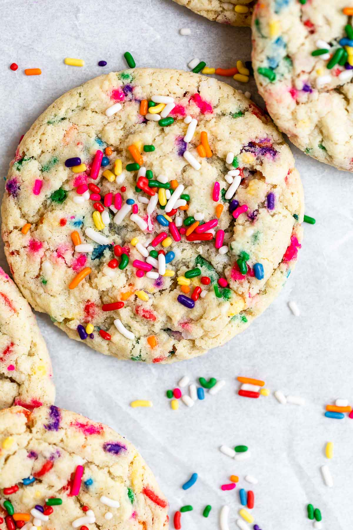 vegan gluten free funfetti sugar cookies with rainbow sprinkles