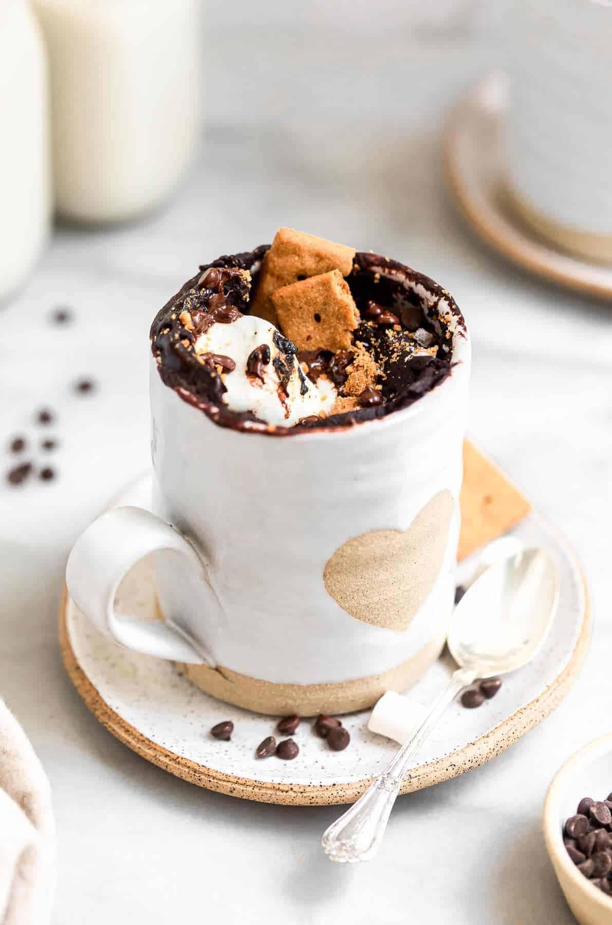 Gluten free chocolate mug cake with marshamallows.