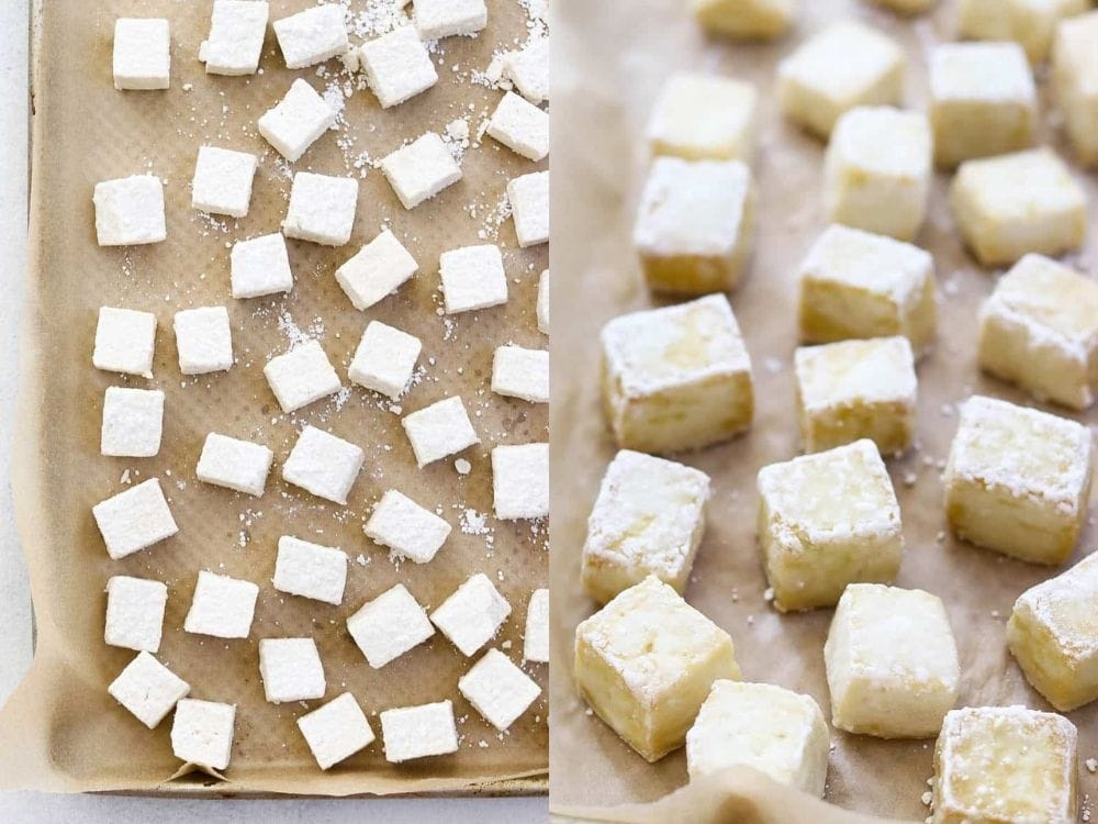 Before and after baking the tofu.