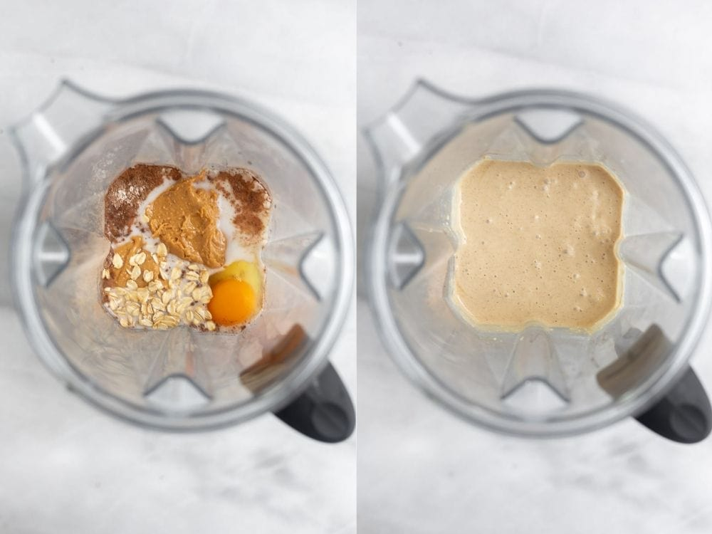 Two images of the blender showing how to make the batter.