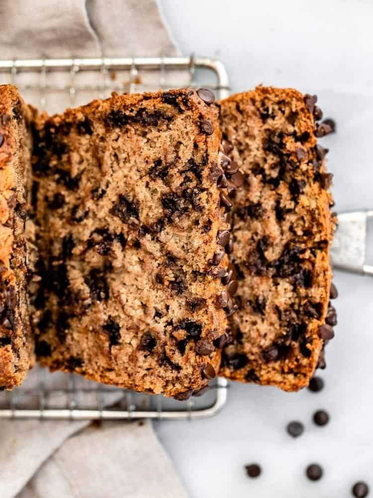 two slices of banana bread with chocolate
