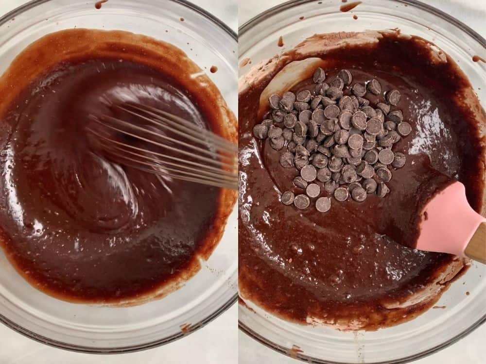 process of mixing together the batter