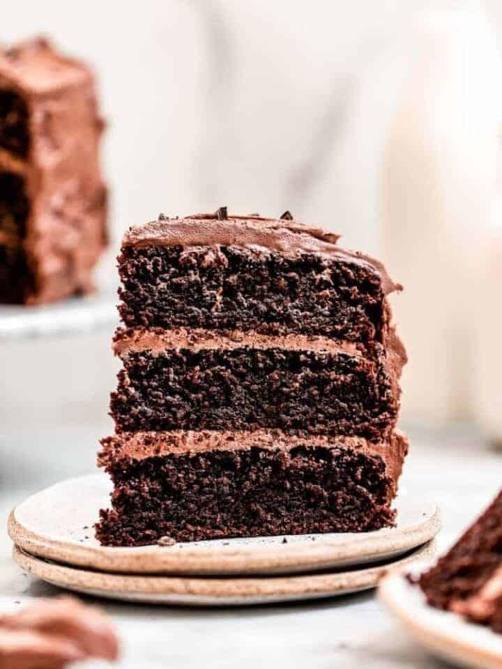 Almond flour chocolate cake on two plates.