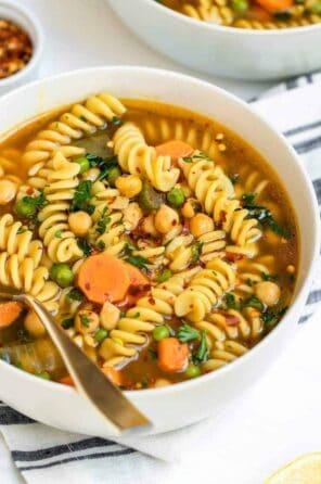Vegetarian Chickpea Noodle Soup