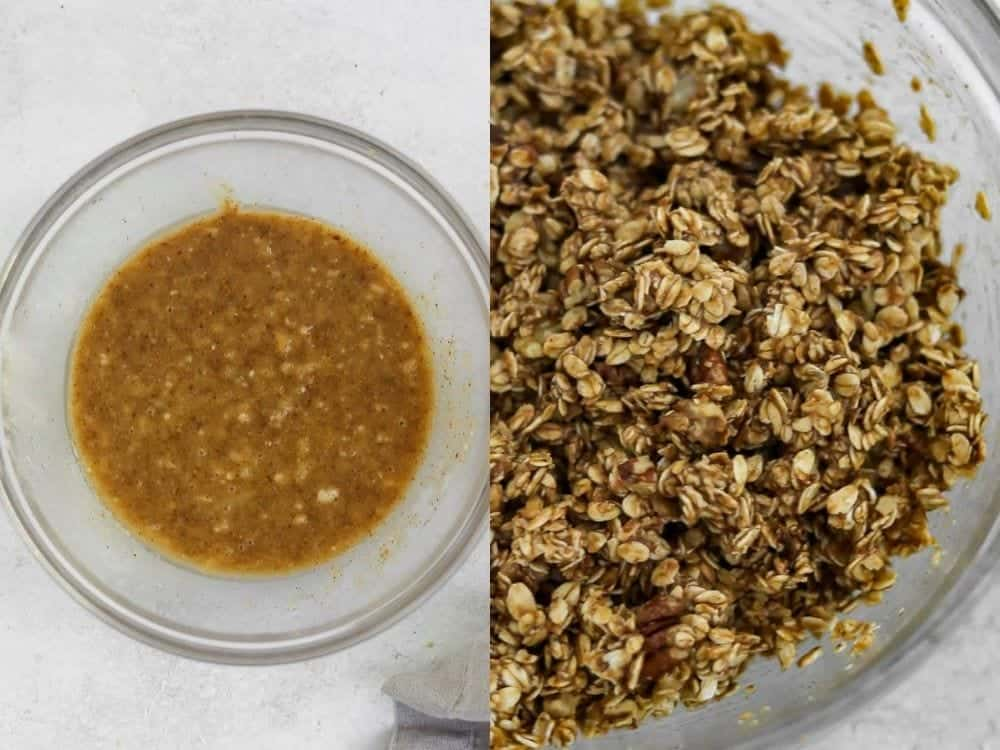 making the granola in a glass bowl