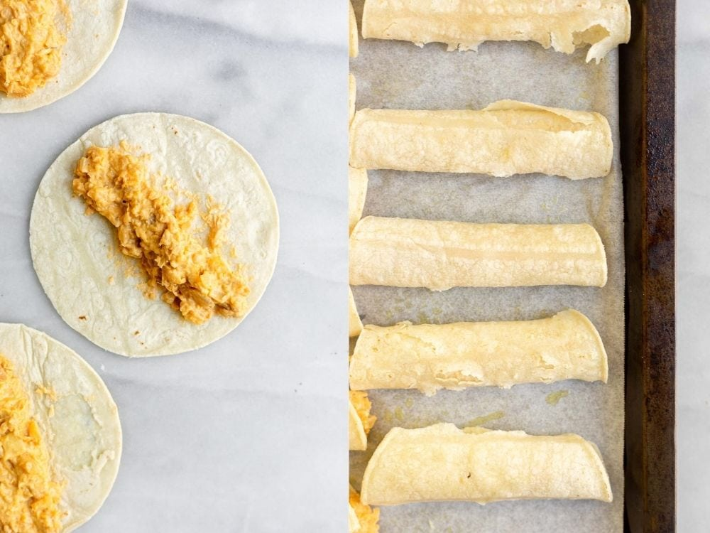 process of making the taquitos