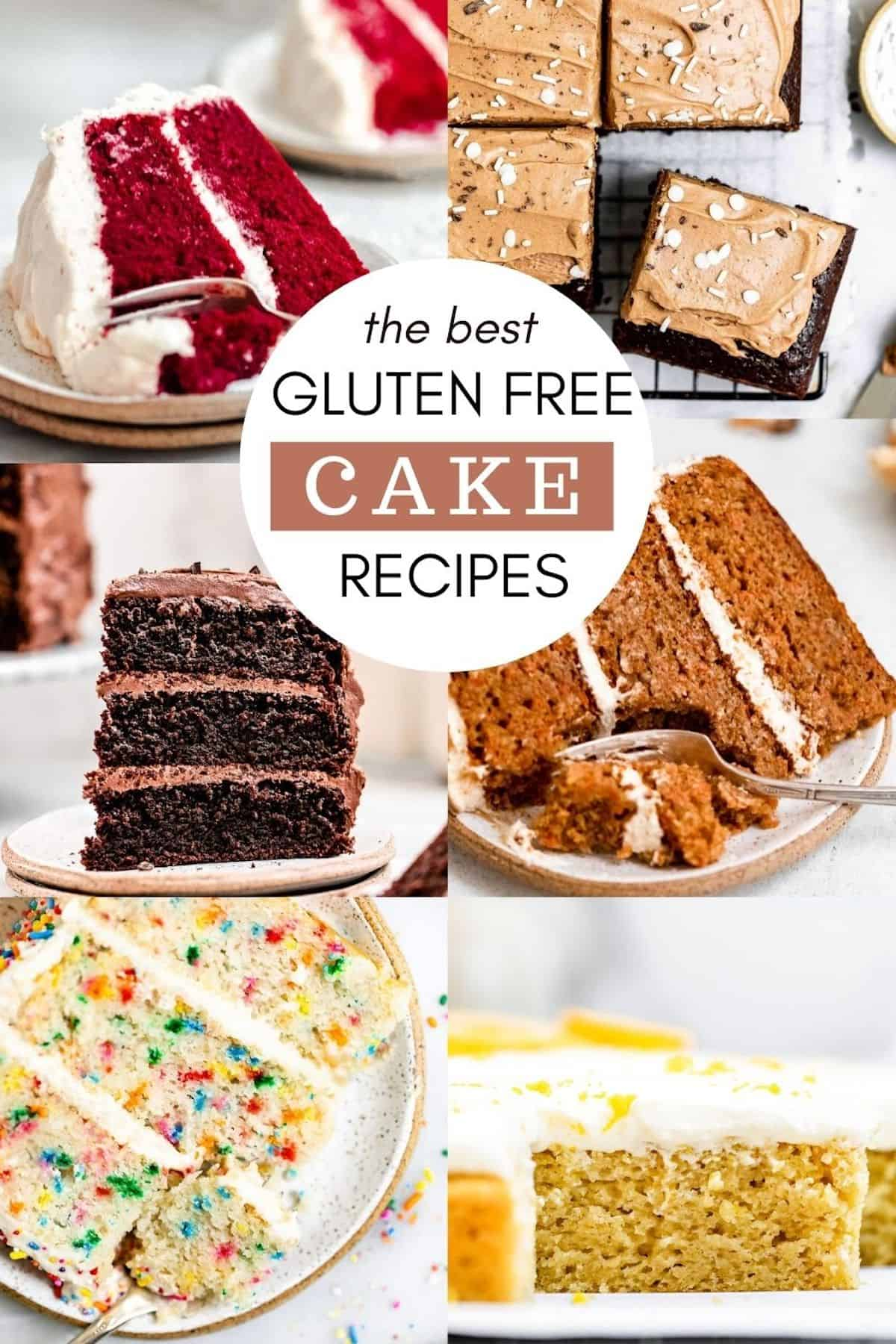 six image collage showing gluten free cakes