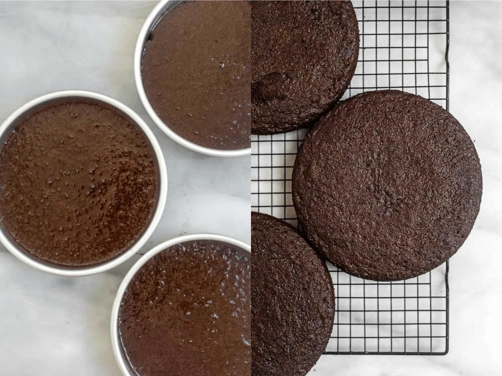 Cakes before and after baking in cake pans.