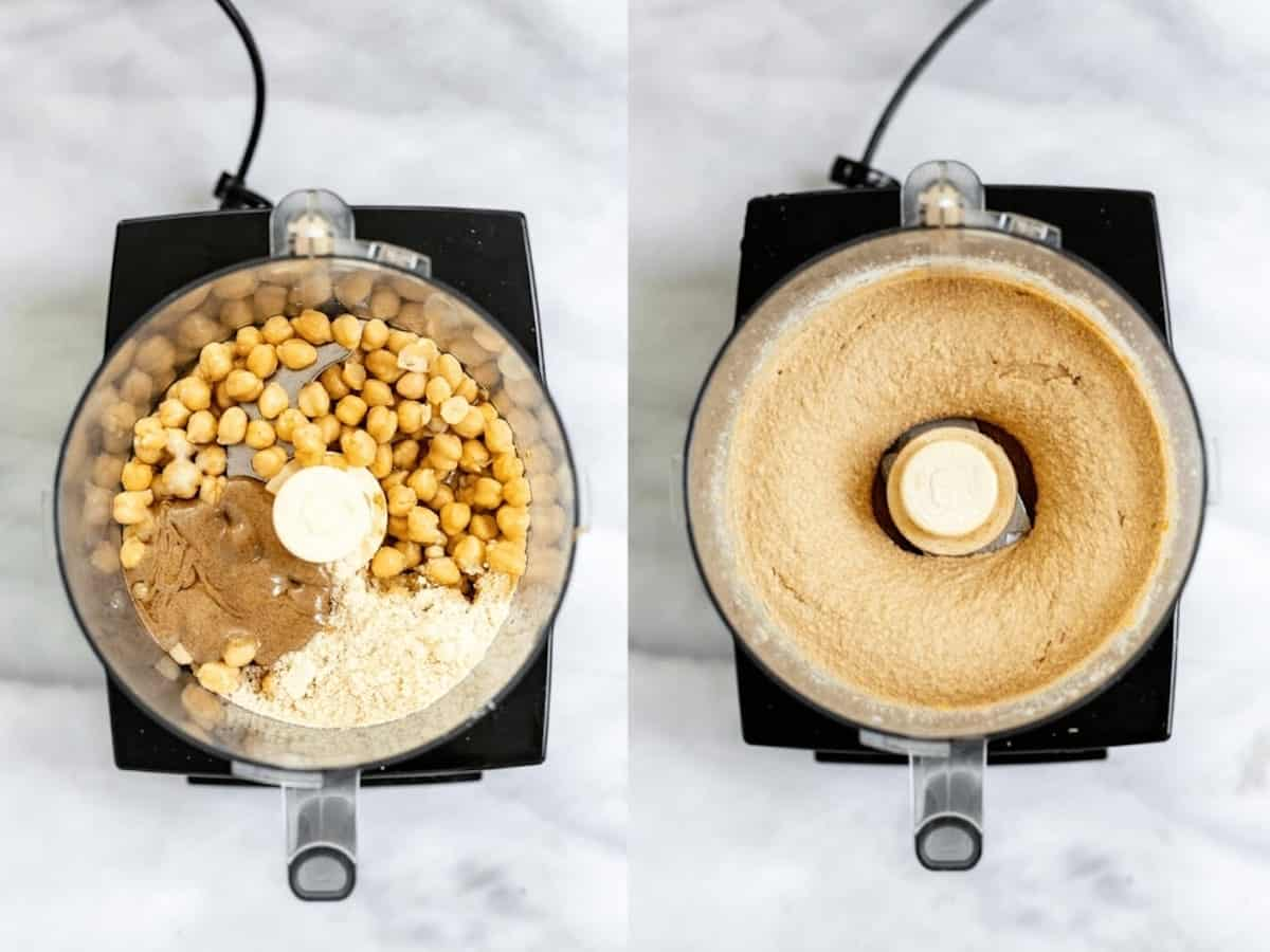 Two images of the food processor with chickpeas showing how to make the cookie dough.