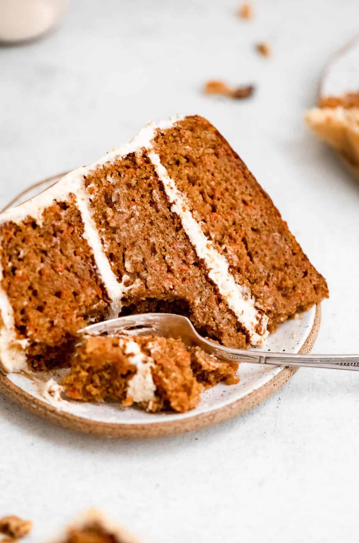 gluten free carrot cake with three layers