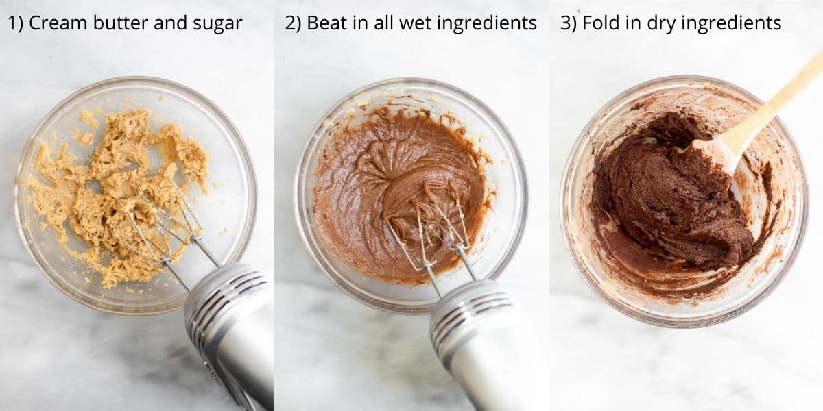 Three images showing how to make the cookie dough.