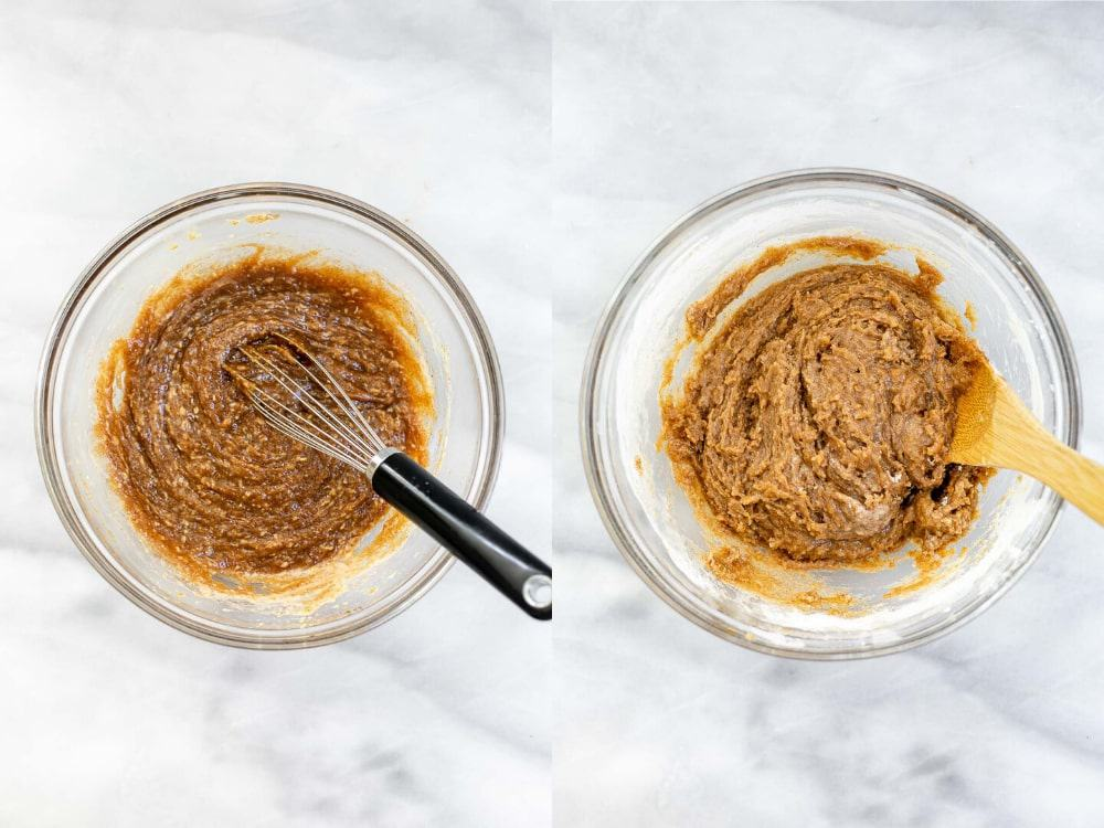 Batter for the blondies in a glass bowl.