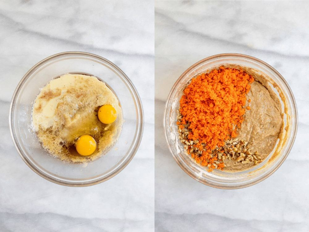 Two images showing how to make the muffin batter.