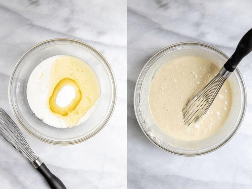 Process of making the cupcake batter.