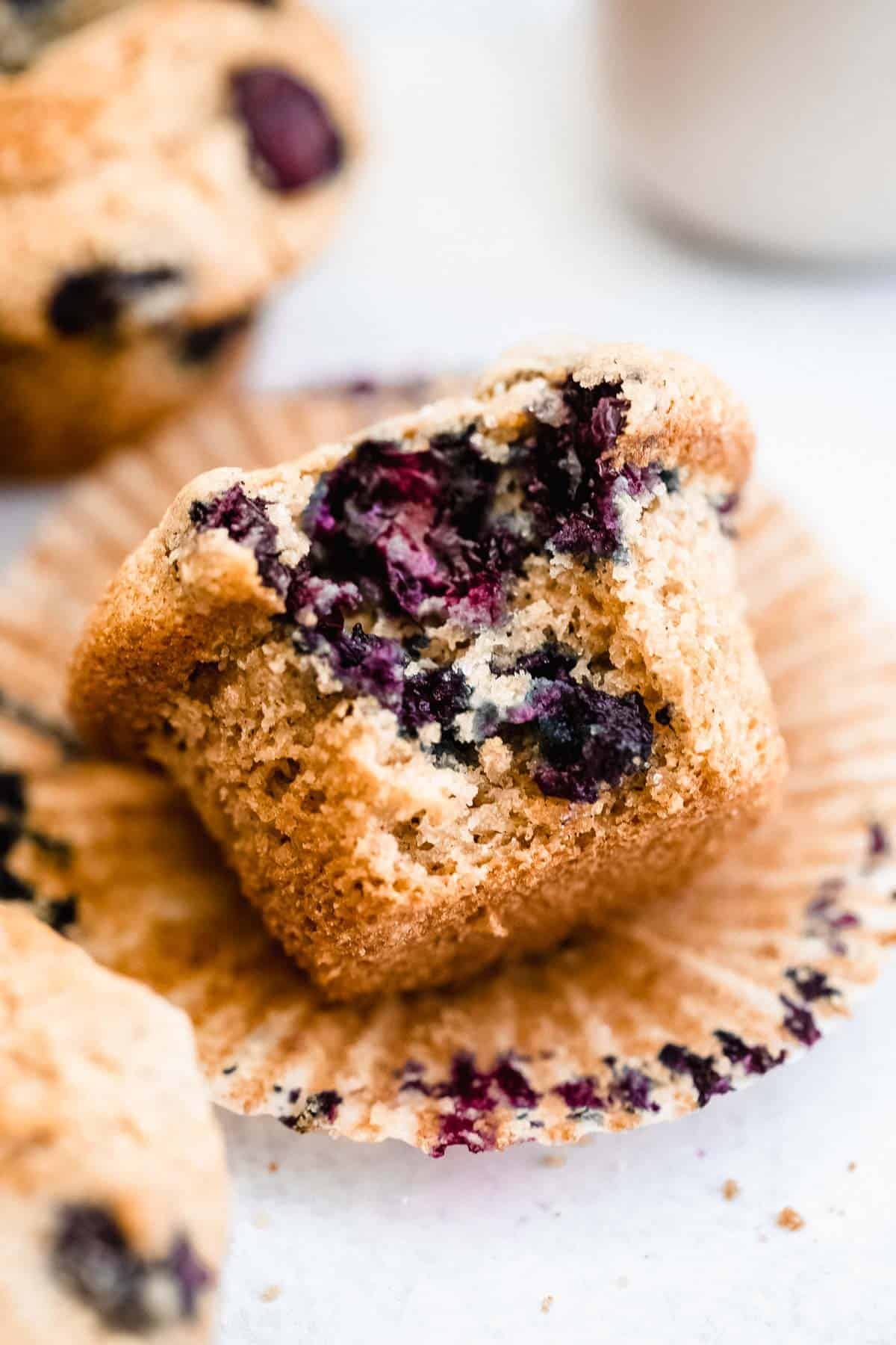 gluten free blueberry muffin with a bite taken out