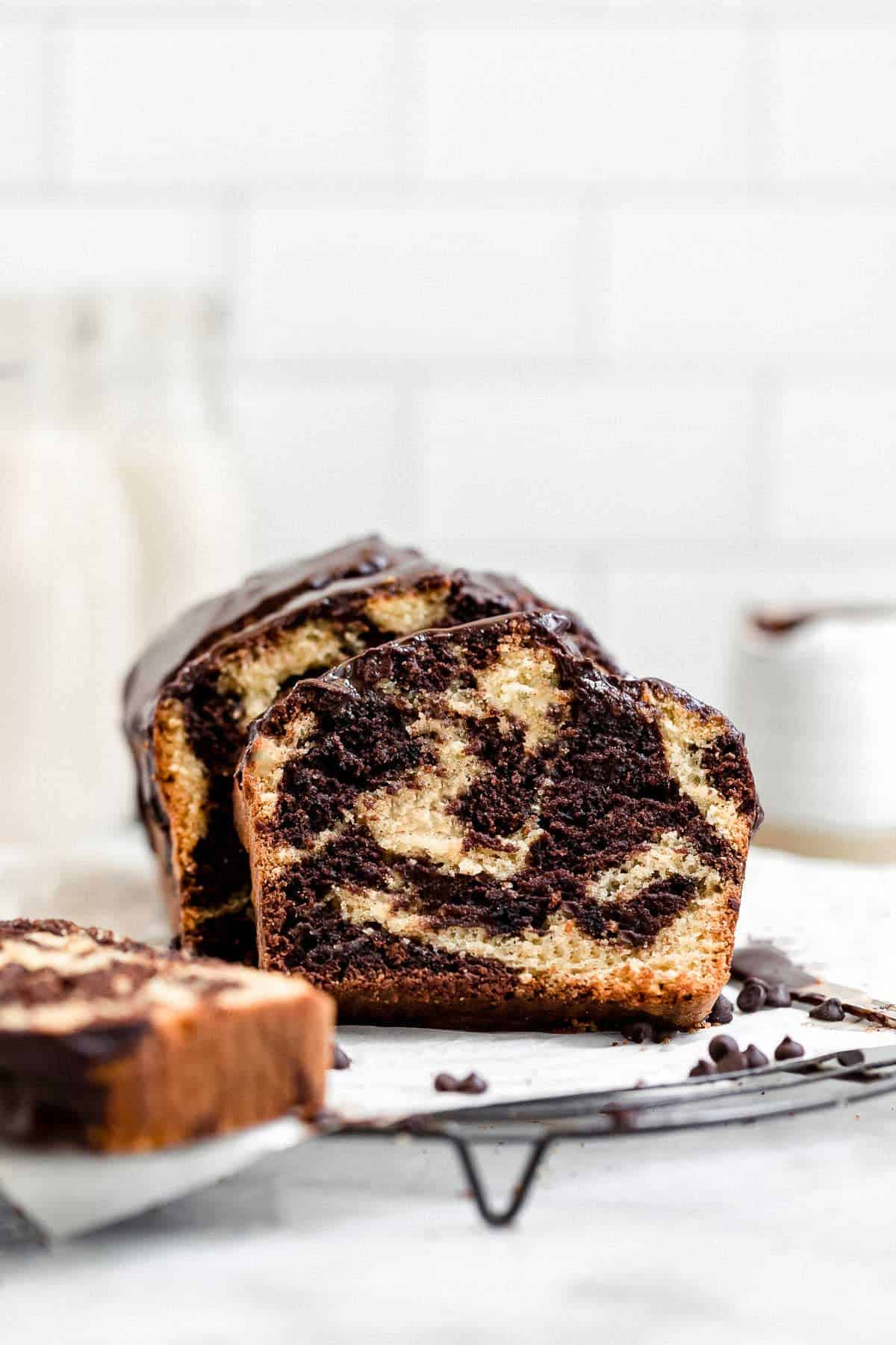 marble loaf cake on a wire rack with chocolate swirls