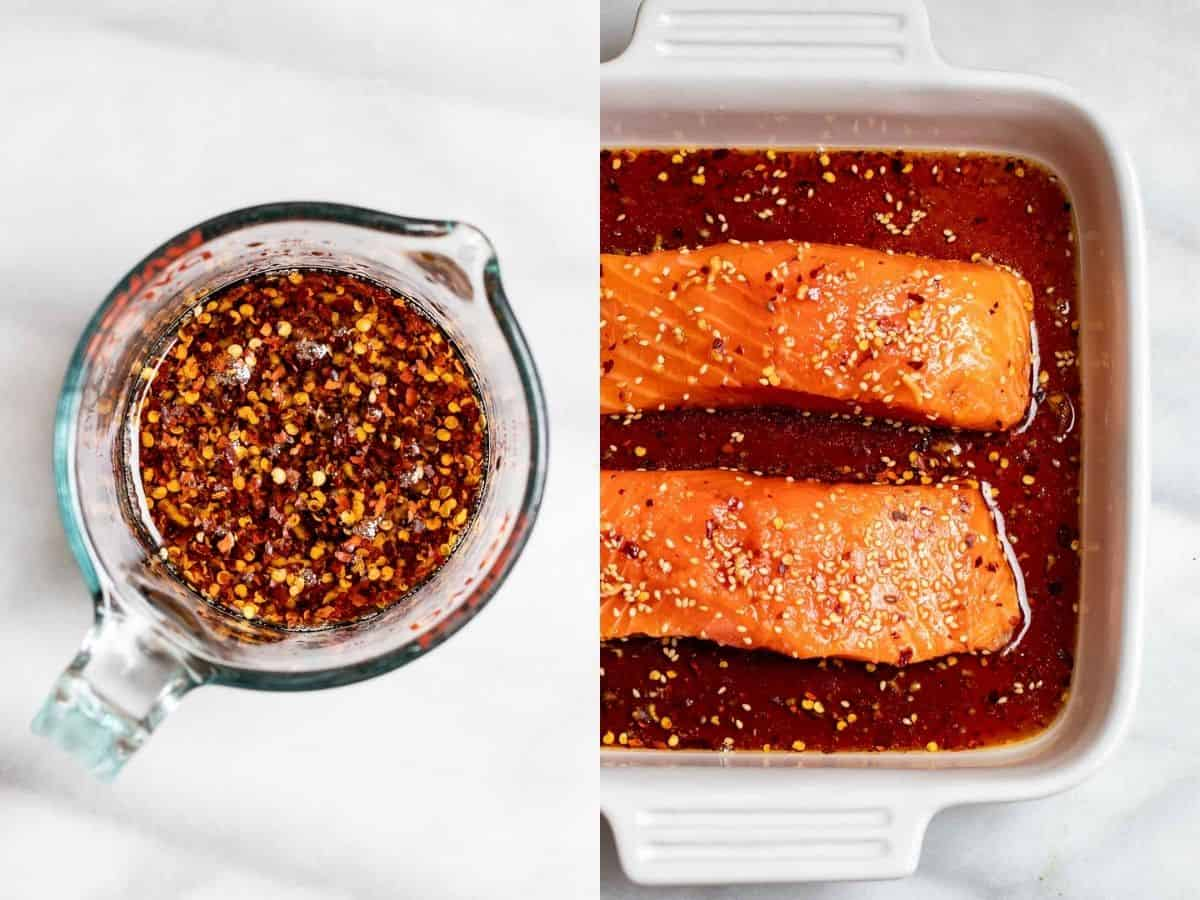 maple glazed salmon in a pan marinating