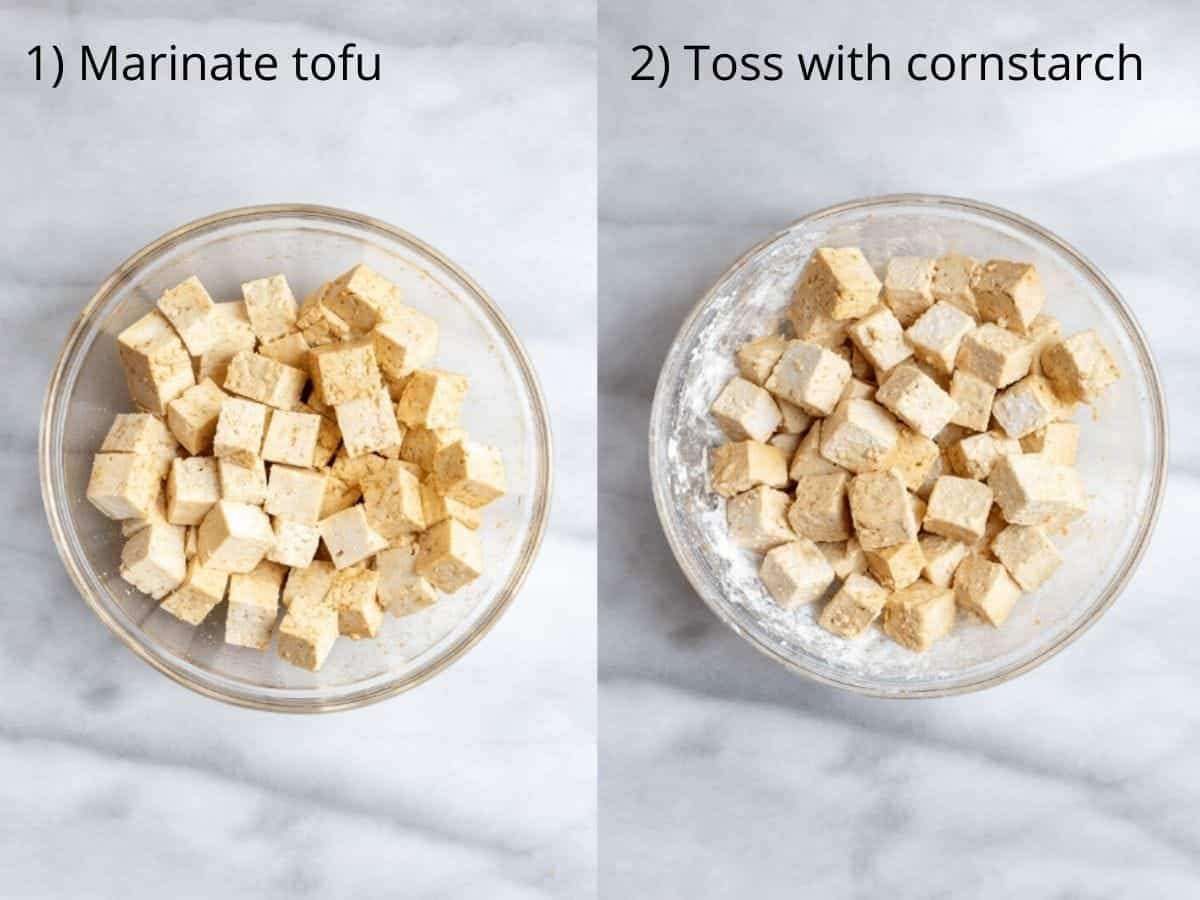cubed tofu in a bowl with marinade