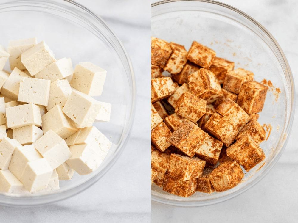 Tofu in glass bowls with seasoning.