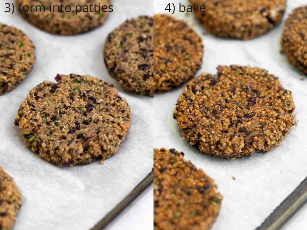 burger patties on a baking sheet