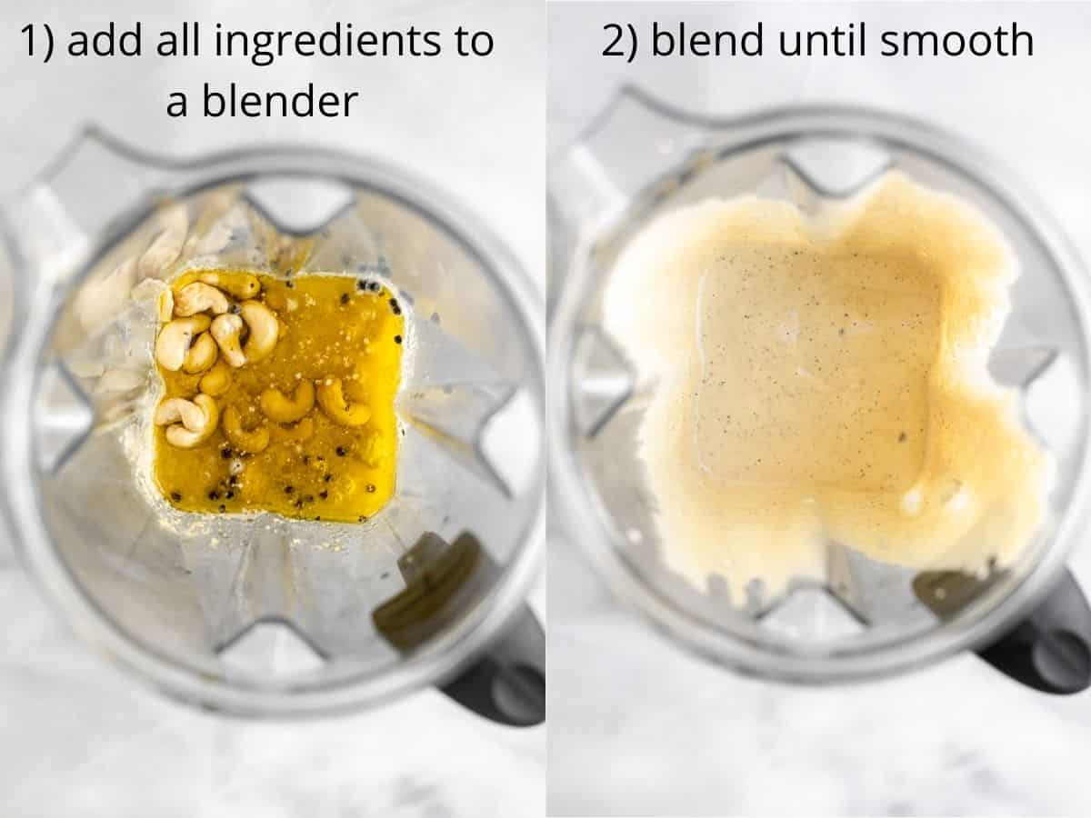 two images showing the blender before and after making the sauce