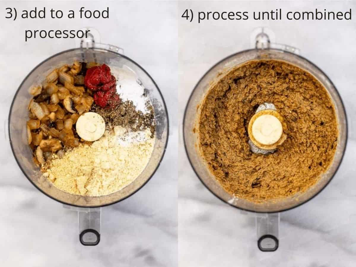 meatball ingredients in a food processor