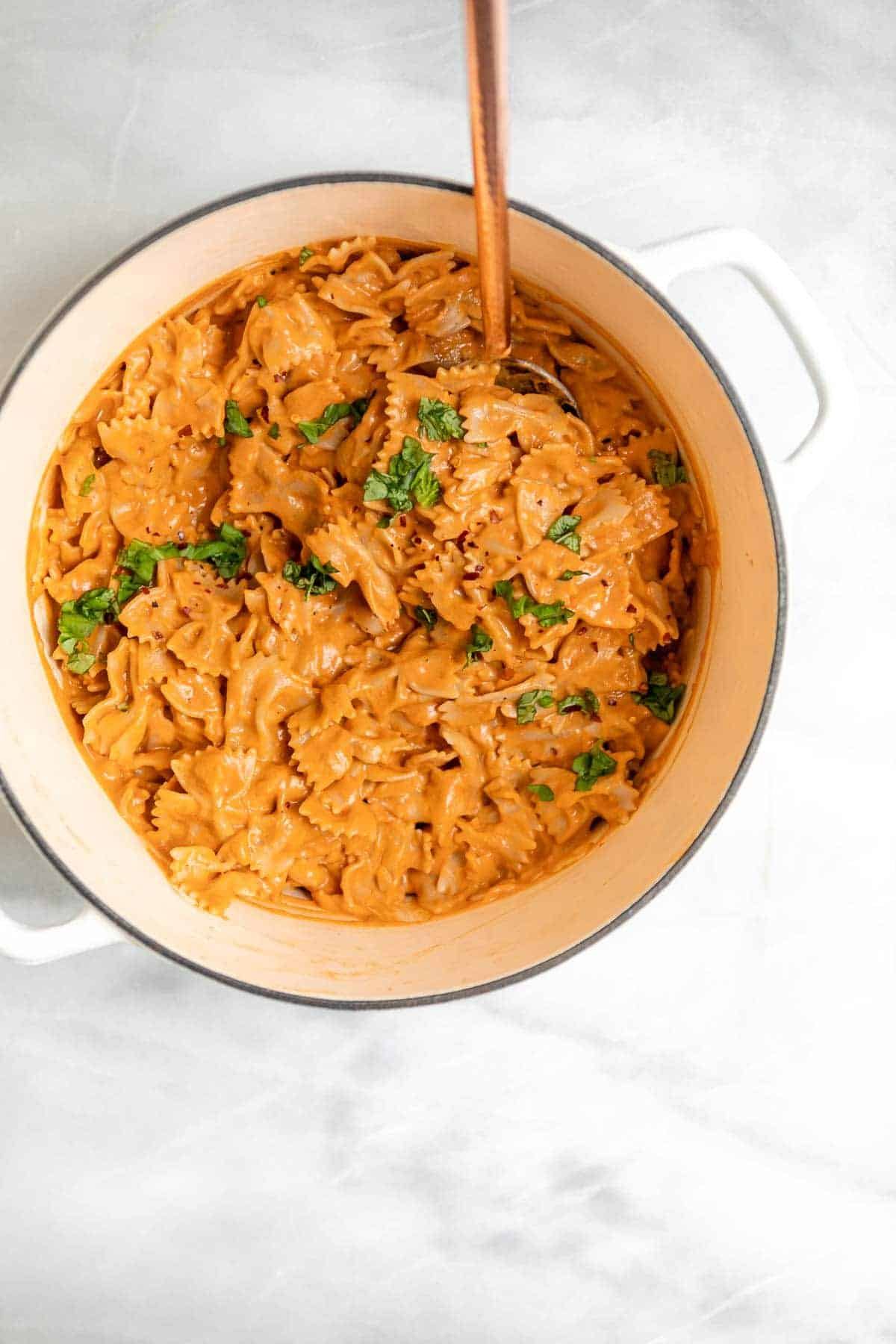 tofu pasta in a large pot with farfalle