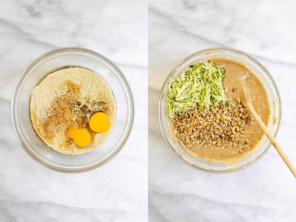 Two images showing the process of making the bread batter.