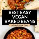 vegan baked beans in a pot
