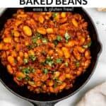 vegan baked beans in a skillet