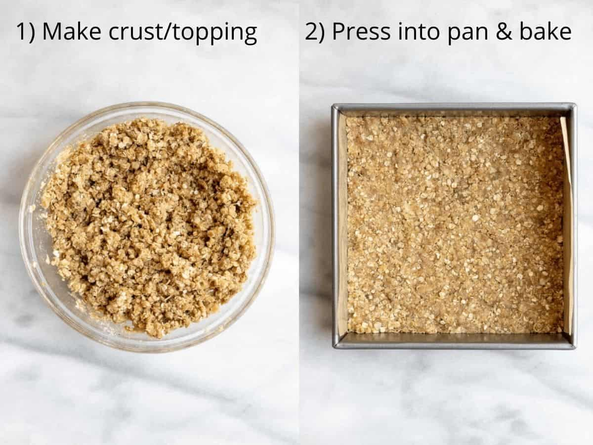 two photos showing how to make the pie crust
