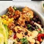 vegan cauliflower burrito bowl pin