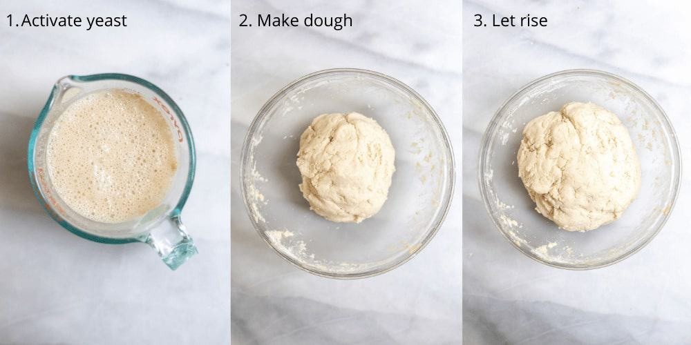 Step by step photos showing how to make the dough.
