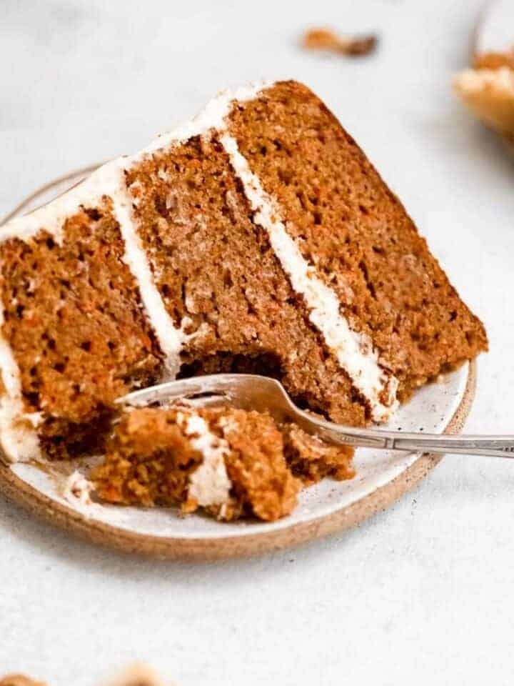 three layer slice of carrot cake