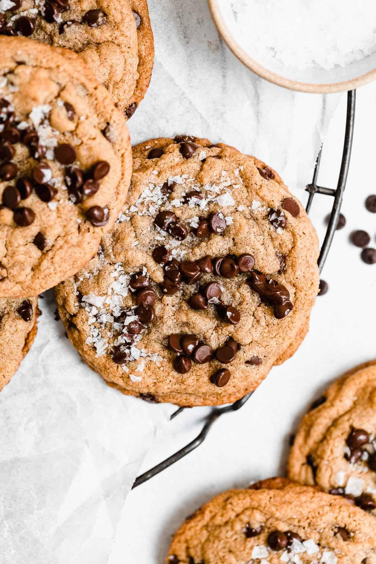 Overhead shot of peanut butter cookies with sea salt