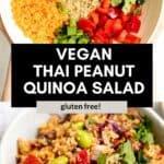 two images of the peanut quinoa salad
