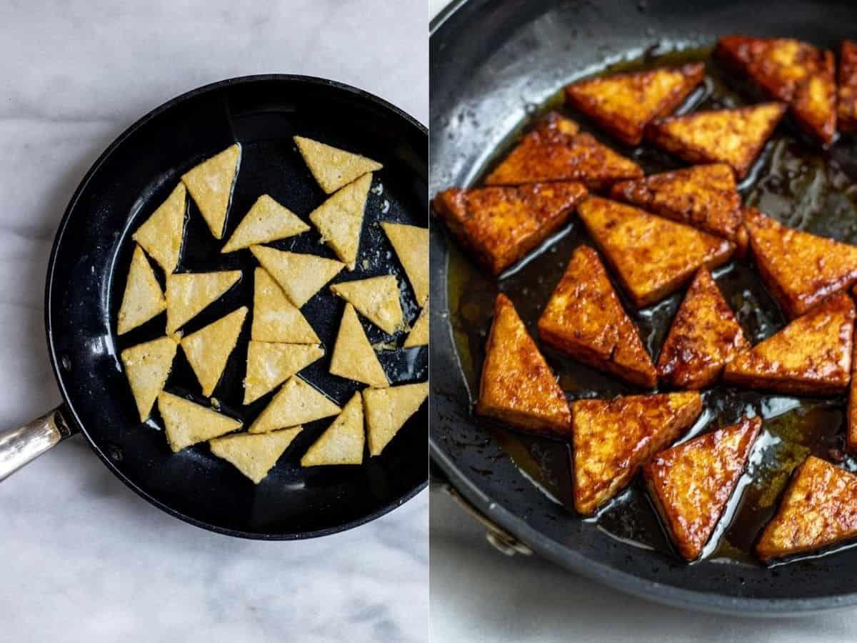 tofu frying in a pan